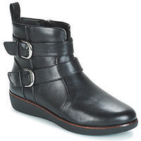 Zapatos Mujer Botas de caña baja FitFlop LAILA DOUBLE BUCKLE Negro