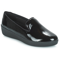 Zapatos Mujer Mocasín FitFlop AUDREY SMOKING SLIPPERS CRINKLE PATENT Negro