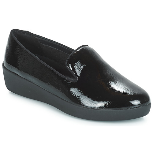 Negro Fitflop Audrey Smoking Zapatos Mujer Crinkle Mocasín Patent Slippers lK3uJT15Fc