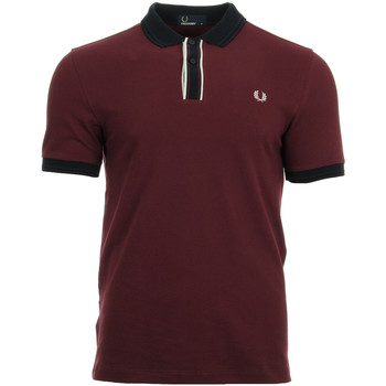 Fred Perry Tipped Placket Pique Shirt Rojo