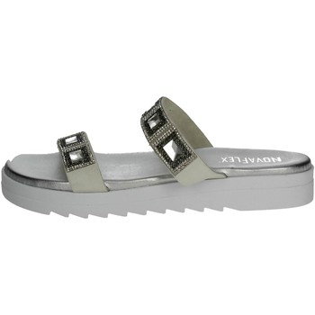 Zapatos Mujer Zuecos (Mules) Novaflex SALCERELLA 001 Chancla Mujer Blanco/Argent Blanco/Argent