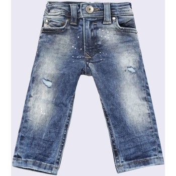 textil Niños vaqueros rectos Diesel SLEENKER-B 00K1MG VAQUEROS niño DENIM MEDIUM BLUE DENIM MEDIUM BLUE