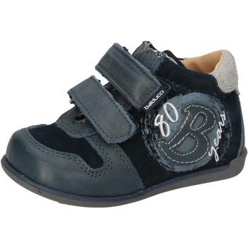 Zapatos Niño Zapatillas altas Balducci sneakers azul gamuza cuero AD588 azul