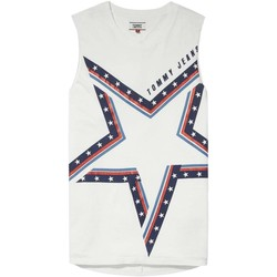 textil Mujer camisetas sin mangas Tommy Jeans DW0DW04066 STAR TANK T-SHIRT Mujer BRIGHT WHITE BRIGHT WHITE