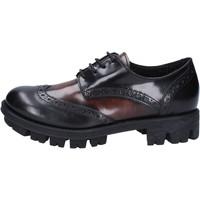 Zapatos Mujer Derbie Lea Foscati elegantes negro cuero brillante marrón AD743 negro