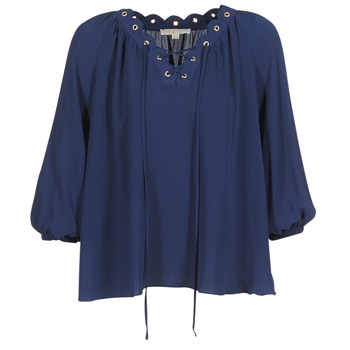 textil Mujer Tops / Blusas MICHAEL Michael Kors SCALLP GRMT CHAIN TOP Marino