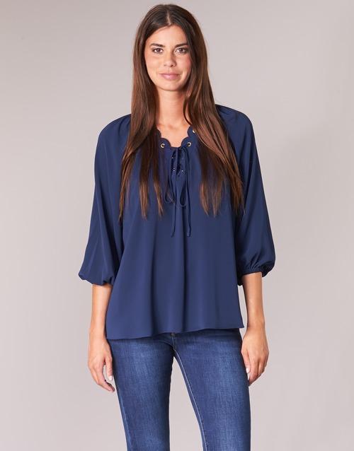 textil Mujer Tops / Blusas MICHAEL Michael Kors SCALLP GRMT CHAIN TOP Marino