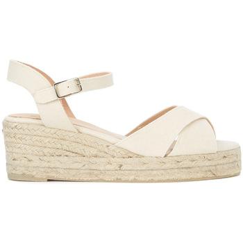 Zapatos Mujer Sandalias Castaner Sandalia con plataforma Blaudell en tela beis claro Blanco