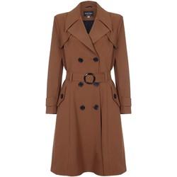 textil Mujer trench De La Creme - Trench con cinturon de primavera para mujer Brown