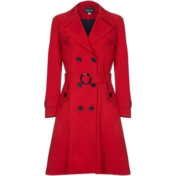 textil Mujer trench De La Creme Trench con cinturón de primavera Rojo