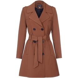 textil Mujer Abrigos De La Creme Trench con cinturón de primavera Brown