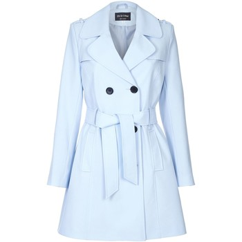 textil Mujer Abrigos De La Creme Trench con cinturón de primavera Blue