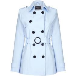 textil Mujer Abrigos De La Creme Gabardina Correa Correa Correa Corta Blue
