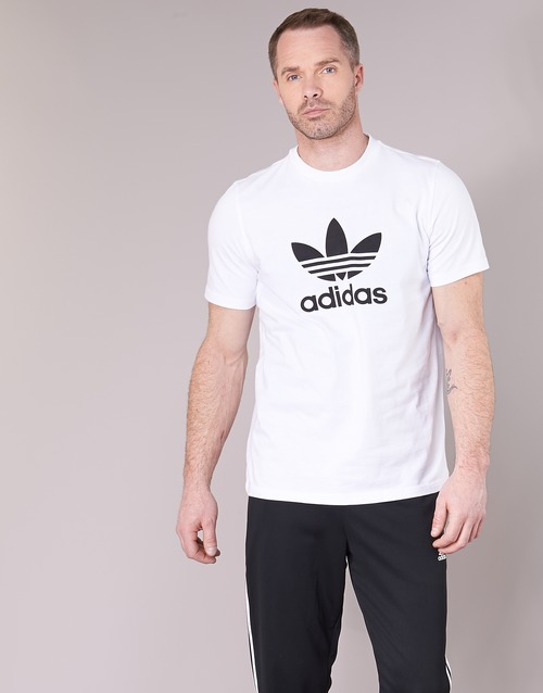 Adidas Manga Textil Originals shirt Corta Camisetas Blanco Trefoil Hombre T UVSMpzq