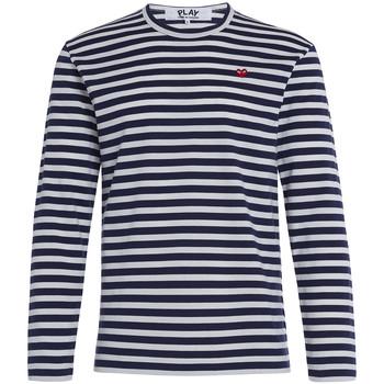 textil Hombre Camisetas manga larga Comme Des Garcons Jersey Play by Comme des Garçons de rayas blancas y azul Gris