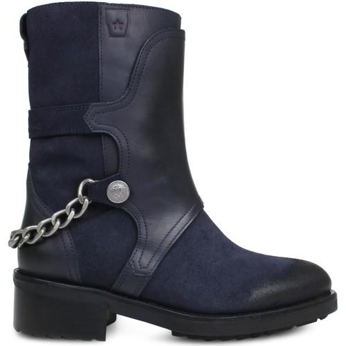 Zapatos Mujer Botines Cubanas Botas Iron100 Midnight Blue Azul