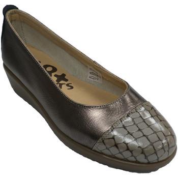 Zapatos Mujer Bailarinas-manoletinas 48 Horas Zapatos mujer manoletinas cuña puntera de cocodrilo gris