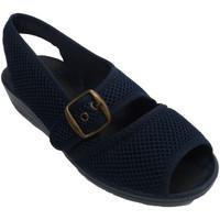 Zapatos Mujer Sandalias Nevada Zapatillas tela rejilla mujer abierta punta y talón con hebilla azul