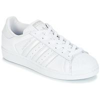 Zapatos Mujer Zapatillas bajas adidas Originals SUPERSTAR W Blanco / Plata