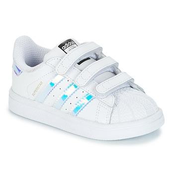 Zapatos Niña Zapatillas bajas adidas Originals SUPERSTAR CF I Blanco / Plata