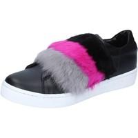 Zapatos Mujer Deportivas Moda Islo sneakers negro cuero piel BZ213 negro
