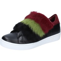 Zapatos Mujer Deportivas Moda Islo sneakers negro cuero piel burdeos BZ214 negro