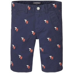 textil Niño Shorts / Bermudas Tommy Hilfiger TH EMBROIDERED CHINO SHORT Azul