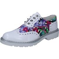 Zapatos Mujer Derbie Cult elegantes blanco cuero brillante multicolor textil BZ264 multicolor