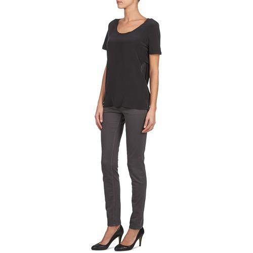 Negro Camisetas Calvin Textil Manga Jeans Silk Corta Klein Wagmar Mujer kXiuPZO