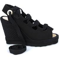 Zapatos Mujer Sandalias Mtbali Sandalia Alpargata con cuña, Mujer - Modelo Ibiza Black negro