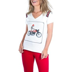 textil Mujer camisetas manga corta The Extreme Collection Camiseta Driver Beige Blanco