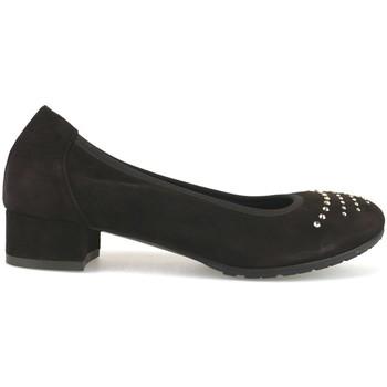 Zapatos Mujer Bailarinas-manoletinas Calpierre de salón marrón gamuza swarovski AJ377 marrón