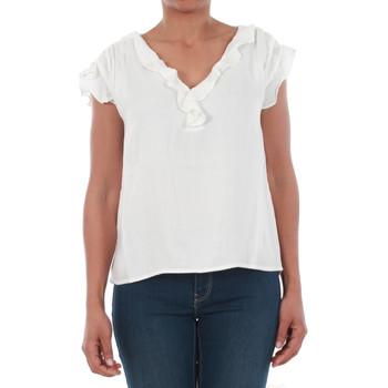 textil Mujer Camisetas manga corta Vero Moda 10196234 VMSEATTLE FRILL S/S TOP EXP SNOW WHITE Blanco