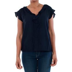 textil Mujer Camisetas manga corta Vero Moda 10196234 VMSEATTLE FRILL S/S TOP EXP NAVY BLAZER Azul marino