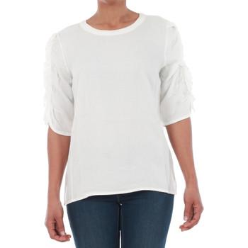 textil Mujer Camisetas manga corta Vero Moda 10196235 VMSEATTLE FRILL 2/4 TOP EXP SNOW WHITE Blanco
