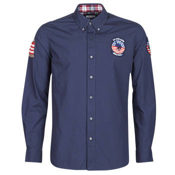 textil Hombre camisas manga larga U.S Polo Assn. USA PATCH SHIRT BD Marino