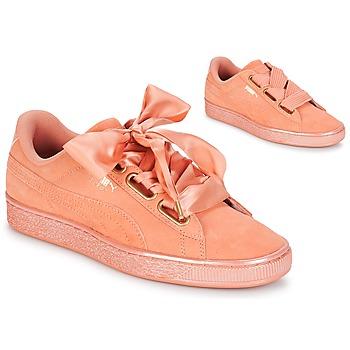 Zapatos Mujer Zapatillas bajas Puma WN SUEDE HEART SATIN.DUSTY Naranja