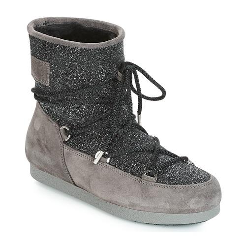 Glitter Moon Far De Zapatos Nieve Boot Mujer Side Suede Low NegroGris Botas nOPk0w8