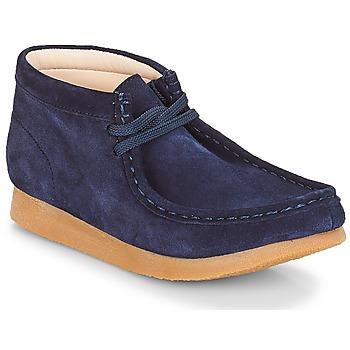 Zapatos Niños Botas de caña baja Clarks Wallabee Bt Navy / Aterciopleado