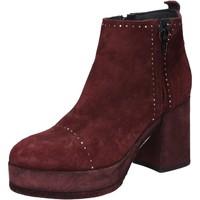 Zapatos Mujer Botines Moma botines burdeos gamuza BY669 rojo