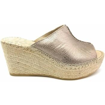 Zapatos Mujer Chanclas Vidorreta ALPARGATA ESPARTO PIEL BRONCE PLATA