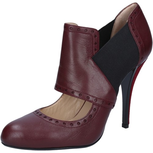 Zapatos Mujer Zapatos de tacón Gianni Marra botines burdeos cuero textil BY795 rojo
