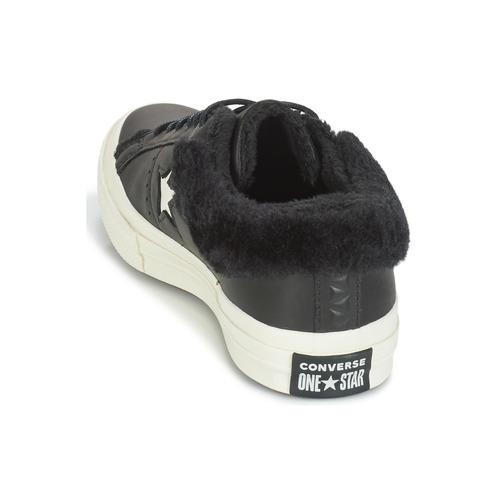 Mujer Leather Ox Zapatos Converse Negro One Star Zapatillas Bajas tshdQr