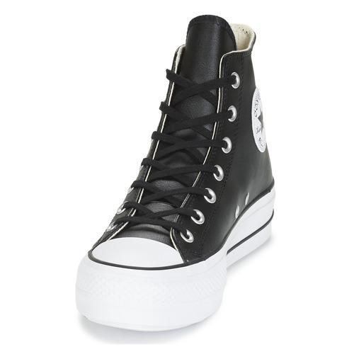 Star Altas Taylor Chuck Clean Leather Hi Negro Zapatillas Lift Mujer Zapatos Converse All OX8wn0Pk