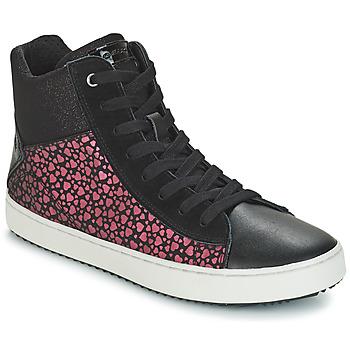 Zapatos Niña Zapatillas altas Geox J KALISPERA GIRL Negro / Rosa