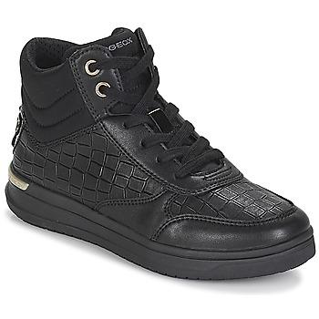 Zapatos Niña Zapatillas altas Geox J AVEUP GIRL Negro / Oro