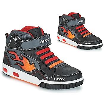 Zapatos Niño Zapatillas altas Geox JR GREGG Negro / Rojo