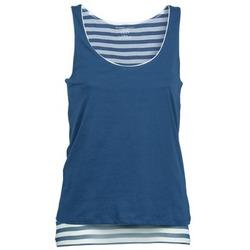 textil Mujer Camisetas sin mangas Majestic BLANDINE Marino / Blanco