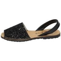 Zapatos Mujer Sandalias Avarca Menorquina Menorquina purpurina Negro