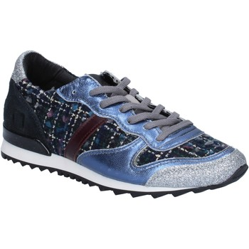 Zapatos Mujer Zapatillas bajas Date sneakers azul textil plata glitter BX59 azul